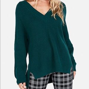 EXPRESS DEEP TEAL GREEN OVERSIZED SWEATER SMALL